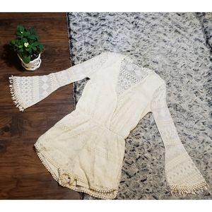 Boho lace cream romper